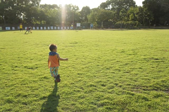芝生の子ども
